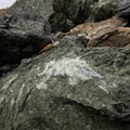A vibrant green boulder rests on shore.- Jade Cove