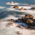 Long exposure of the ocean at Cannery Point.- North Shore Trail + Whaler's Knoll