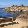 A rest bench at The Pit.- Granite Point + Moss Cove Trails