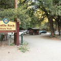 The entrance to Castle Rock State Park on Skyline Boulevard.- Castle Rock Falls Waterfall Cliff