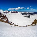 Bootpacking up the chute to the Kings Peak summit.- Kings Peak Backcountry Skiing