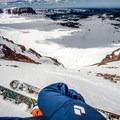 Looking down the chute before descending Kings Peak.- Kings Peak Backcountry Skiing