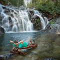 Relaxing at the uppermost portion of the falls.- Canyon Creek Falls