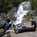 Taking a lunch break at the falls.- Canyon Creek Falls