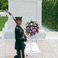 The Tomb of the Unknown Soldier is a marble sarcophagus holding the remains from an unknown solider from World War I.- Arlington National Cemetery