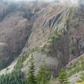 Many rocky outcroppings yielding waterfalls.- Silver Star Mountain via the Bluff Mountain Trail