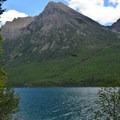 Views of Bowman Lake from Head of Bowman Lake Campground.- Head of Bowman Lake Campground