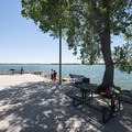 Picnic area and fishing pier at Cherry Creek State Park's West Boat Ramp.- Cherry Creek State Park