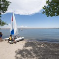 Sandy beach at the Mountain Loop Day Use area on Cherry Creek Reservoir's west shore.- Cherry Creek State Park