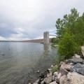 View of the Cherry Creek Dam at Cherry Creek State Park.- Cherry Creek State Park