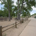 Picnic area at the Cherry Creek Swim Beach and Day Use Area.- Cherry Creek Swim Beach + Day Use Area