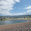 View of North Boat Ramp and Chatfield Reservoir from the dam.- Chatfield State Park