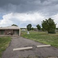 Restroom, shower, and laundry facilities at Chatfield State Park Campground.- Chatfield State Park Campground