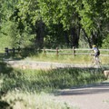 Bicyclist on the Mary Carter Greenway Trail crossing under CO Highway 470, South Platte Park.- South Platte Park