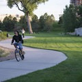 Bicyclist on the South Platte River Trail at Commons Park.- Commons Park