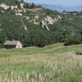 View of Persse Place homestead from the Fountain Valley Trail.- Roxborough State Park + National Natural Landmark
