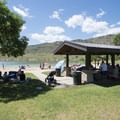 Picnic shelters at Big Soda Lake Swim Beach.- Big Soda Lake Swim Beach + Day Use Area