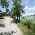 Day use area at Big Soda Lake, Bear Creek Lake Regional Park.- Big Soda Lake