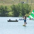 Paddlers on Big Soda Lake, Bear Creek Lake Regional Park.- Big Soda Lake
