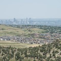 View of downtown Denver from the Red Rocks Amphitheater.- Red Rocks Amphitheater + Park