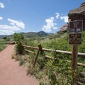 Southern end and trailhead for the Trading Post Trail, Red Rocks Park.- Trading Post Trail