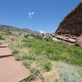 Trading Post Trail with Frog Rock at right, Red Rocks Park.- Trading Post Trail