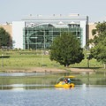 View of the Denver Museum of Nature and Science from across Ferril Lake.- City Park