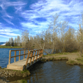 Wooden bridge on the Yakima River.- Irene Rinehart Riverfront Park