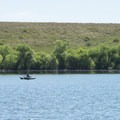 Angler on Dixon Reservoir.- Dixon Reservoir Loop Trail