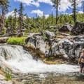 Lower view of the first waterfall.- Paulina Creek Waterfalls Mountain Biking