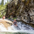 The first waterfall after the camp. This is also a fun waterslide and swimming hole in the summer.- Paulina Creek Waterfalls Mountain Biking