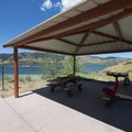 Picnic shelters/area at Sunrise Day Use Area, Horsetooth Reservoir County Park.- Sunrise Day Use + Swimming Area