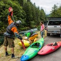 Gearing up at the put-in.- North Santiam River: Niagara Section