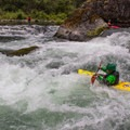 Eddy hopping down the Niagara section of the North Santiam River.- North Santiam River: Niagara Section