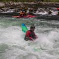 Burying the bow in the playwave below Niagara.- North Santiam River: Niagara Section