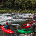 Scouting Niagara from the eddy on river left.- North Santiam River: Niagara Section
