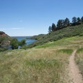 Trail down to Soldier Cove of Horsetooth Reservoir at Lory State Park.- Lory State Park