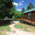 One of seven cabins at South Bay Campground, Horsetooth Reservoir County Park.- South Bay Campground