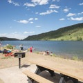Picnic area at South Bay Day Use Area, Horsetooth Reservoir County Park.- South Bay Day Use Area + Swim Beach
