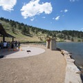 Picnic shelter at South Bay Day Use Area, Horsetooth Reservoir County Park.- South Bay Day Use Area + Swim Beach