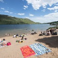 Swim beach at South Bay Day Use Area, Horsetooth Reservoir County Park.- South Bay Day Use Area + Swim Beach