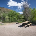 Typical campsite at Inlet Bay Campground, Horsetooth Reservoir County Park.- Inlet Bay Campground