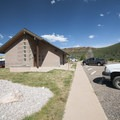 Restroom and shower facility at Inlet Bay Campground, Horsetooth Reservoir County Park.- Inlet Bay Campground