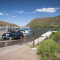 Boat ramp at Inlet Bay Campground, Horsetooth Reservoir County Park.- Inlet Bay Campground