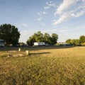Horseshoes and play structure at Boyd Lake State Park Campground.- Boyd Lake State Park Campground