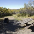 All sites at South Rim Campground in Black Canyon of the Gunnison feature a picnic table and fire ring.- South Rim Campground