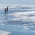 Two children stand on the beach ready for a wave.- Mad River County Beach