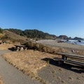 Several easily accessed picnic tables sit overlooking the beach.- Lone Ranch Beach + Picnic Area