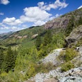 The view toward Telluride from the trail to Bridal Veil Falls.- Bridal Veil Falls, Telluride
