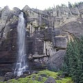At the base of the 395-foot Bridal Veil Falls. Pictured at the end of summer.- Bridal Veil Falls, Telluride